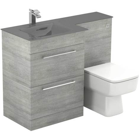 Venice Square Left Hand Grey Glass 1100mm 2 Drawer Molina Ash Vanity Unit Toilet Suite