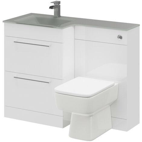 Venice Square Left Hand Grey Glass 1100mm 2 Drawer White Vanity Unit Toilet Suite