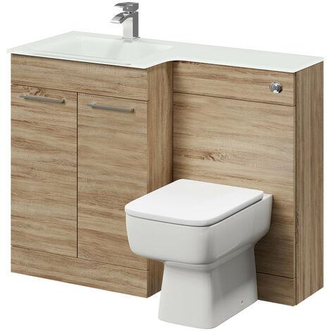 Venice Square Left Hand White Glass 1100mm 2 Door Bordalino Oak Vanity Unit Toilet Suite