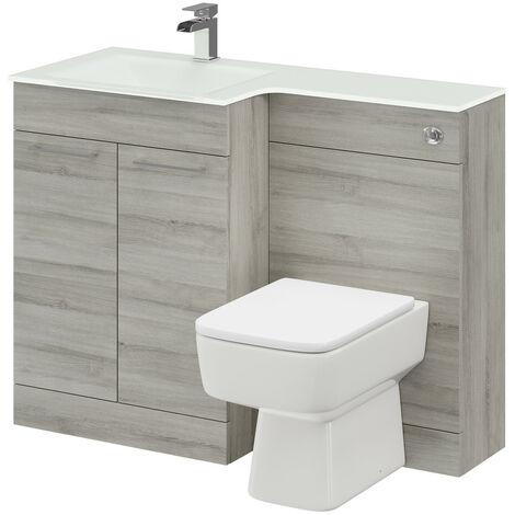 Venice Square Left Hand White Glass 1100mm 2 Door Molina Ash Vanity Unit Toilet Suite
