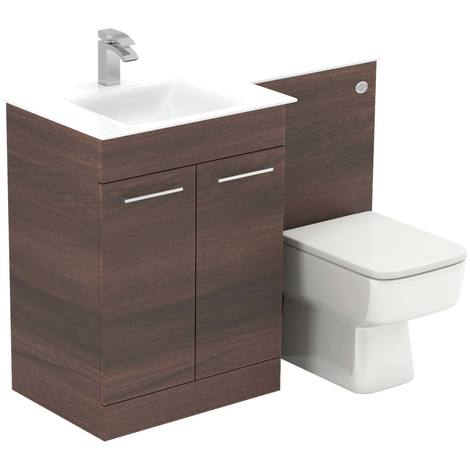 Venice Square Left Hand White Glass 1100mm 2 Door Walnut Vanity Unit Toilet Suite