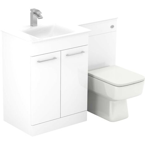 Venice Square Left Hand White Glass 1100mm 2 Door White Vanity Unit Toilet Suite