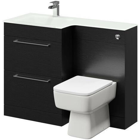 Venice Square Left Hand White Glass 1100mm 2 Drawer Black Oak Vanity Unit Toilet Suite
