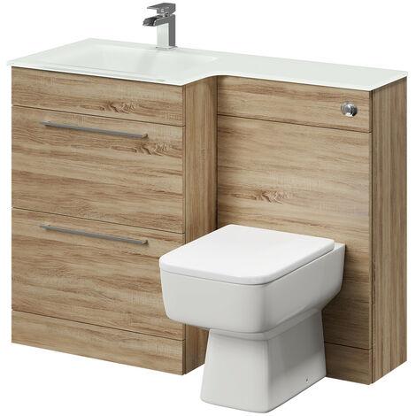 Venice Square Left Hand White Glass 1100mm 2 Drawer Bordalino Oak Vanity Unit Toilet Suite
