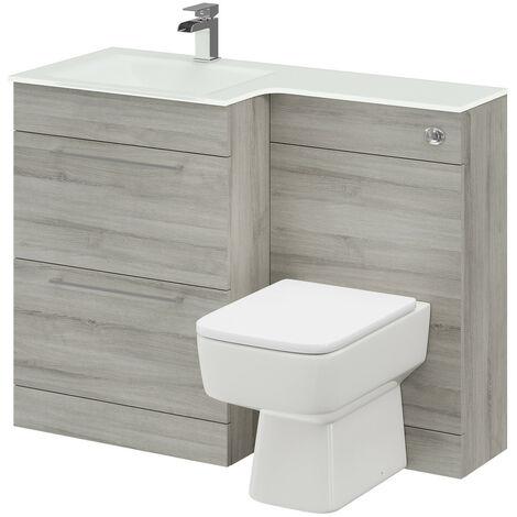 Venice Square Left Hand White Glass 1100mm 2 Drawer Molina Ash Vanity Unit Toilet Suite