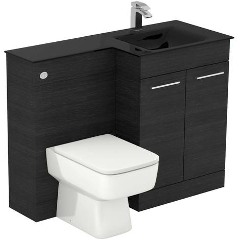 Venice Square Right Hand Anthracite Glass 1100mm 2 Door Black Oak Vanity Unit Toilet Suite
