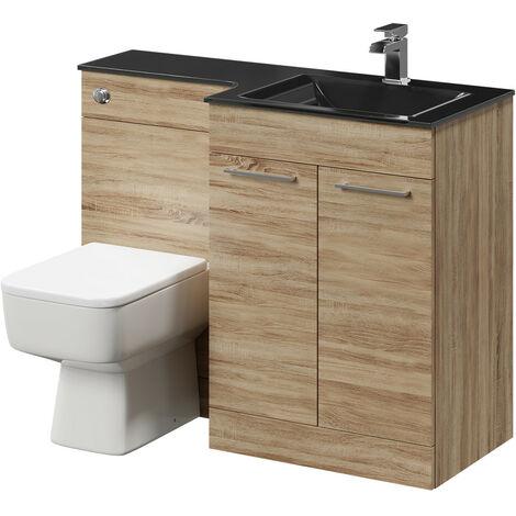 Venice Square Right Hand Anthracite Glass 1100mm 2 Door Bordalino Oak Vanity Unit Toilet Suite