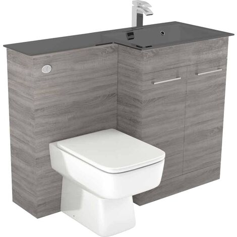 Venice Square Right Hand Anthracite Glass 1100mm 2 Door Molina Ash Vanity Unit Toilet Suite