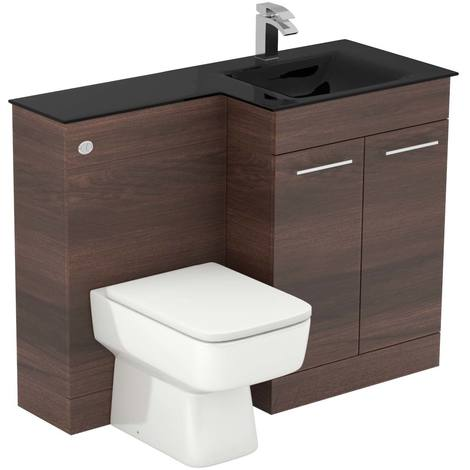 Venice Square Right Hand Anthracite Glass 1100mm 2 Door Walnut Vanity Unit Toilet Suite