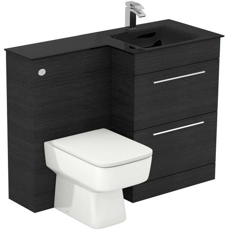 Venice Square Right Hand Anthracite Glass 1100mm 2 Drawer Black Oak Vanity Unit Toilet Suite