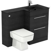 Venice Square Right Hand Anthracite Glass 1100mm 2 Drawer Black Oak Vanity Unit Toilet Suite