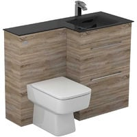 Venice Square Right Hand Anthracite Glass 1100mm 2 Drawer Bordalino Oak Vanity Unit Toilet Suite