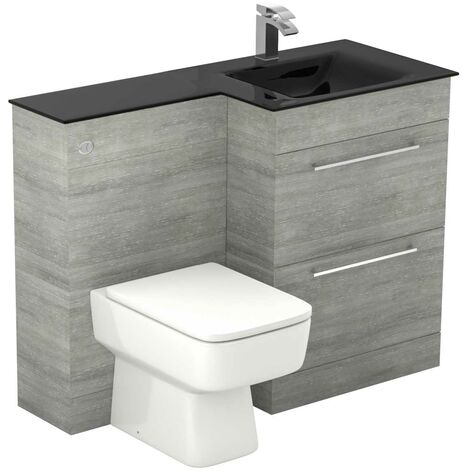 Venice Square Right Hand Anthracite Glass 1100mm 2 Drawer Molina Ash Vanity Unit Toilet Suite