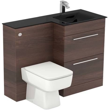 Venice Square Right Hand Anthracite Glass 1100mm 2 Drawer Walnut Vanity Unit Toilet Suite