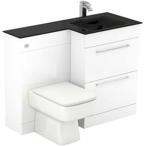 Venice Square Right Hand Anthracite Glass 1100mm 2 Drawer White Vanity Unit Toilet Suite