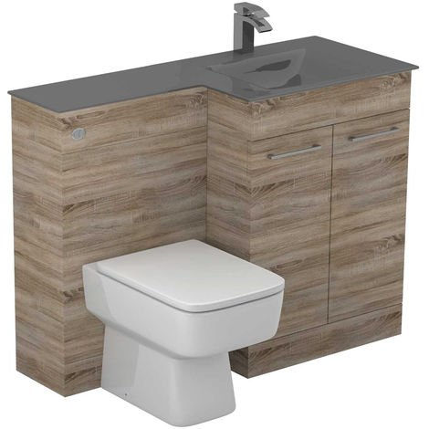Venice Square Right Hand Grey Glass 1100mm 2 Door Bordalino Oak Vanity Unit Toilet Suite