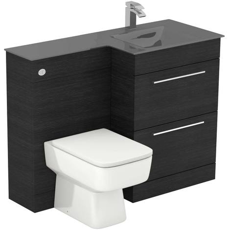 Venice Square Right Hand Grey Glass 1100mm 2 Drawer Black Oak Vanity Unit Toilet Suite