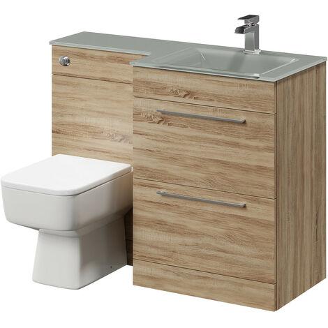 Venice Square Right Hand Grey Glass 1100mm 2 Drawer Bordalino Oak Vanity Unit Toilet Suite