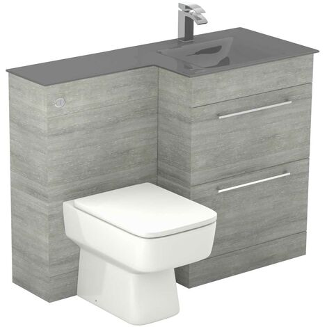 Venice Square Right Hand Grey Glass 1100mm 2 Drawer Molina Ash Vanity Unit Toilet Suite