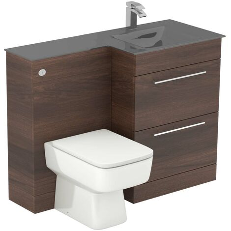 Venice Square Right Hand Grey Glass 1100mm 2 Drawer Walnut Vanity Unit Toilet Suite