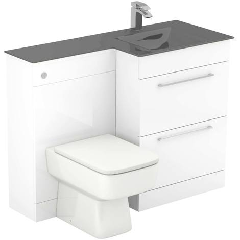Venice Square Right Hand Grey Glass 1100mm 2 Drawer White Vanity Unit Toilet Suite