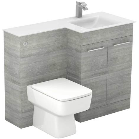 Venice Square Right Hand White Glass 1100mm 2 Door Molina Ash Vanity Unit Toilet Suite