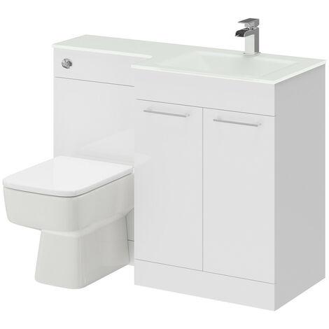 Venice Square Right Hand White Glass 1100mm 2 Door White Vanity Unit Toilet Suite