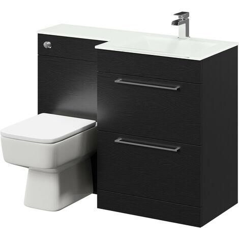 Venice Square Right Hand White Glass 1100mm 2 Drawer Black Oak Vanity Unit Toilet Suite