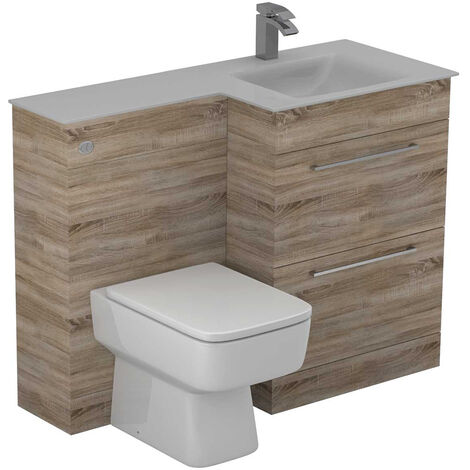 Venice Square Right Hand White Glass 1100mm 2 Drawer Bordalino Oak Vanity Unit Toilet Suite