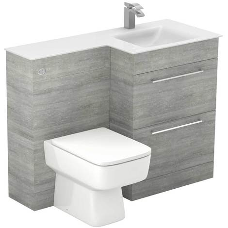 Venice Square Right Hand White Glass 1100mm 2 Drawer Molina Ash Vanity Unit Toilet Suite