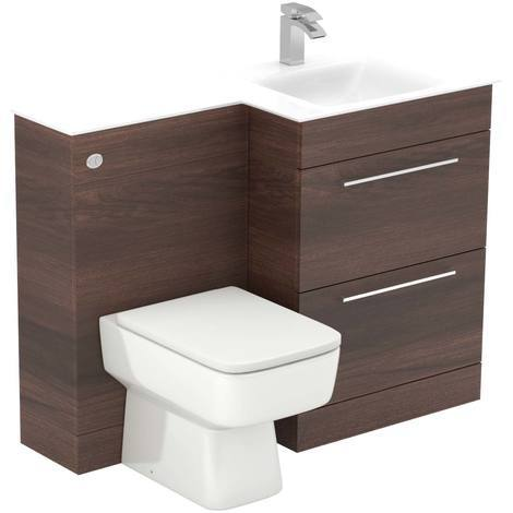 Venice Square Right Hand White Glass 1100mm 2 Drawer Walnut Vanity Unit Toilet Suite