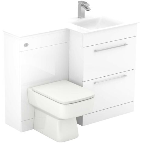 Venice Square Right Hand White Glass 1100mm 2 Drawer White Vanity Unit Toilet Suite