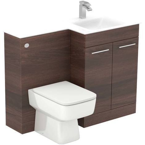 """main image of """"Venice Square White Glass 1100mm Right Hand 2 Door Walnut Vanity Unit Toilet Suite"""""""