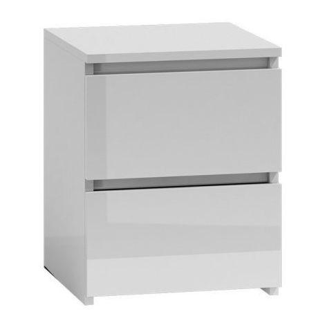 VENICE | Table de chevet/nuit contemporaine minimaliste 2 tiroirs chambre  40x40x52 | Couleur gloss/brillant | Meuble de nuit | blanc