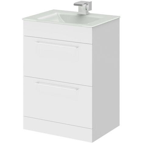Venice White 600 Napoli Gloss White 2 Drawer Unit & Basin
