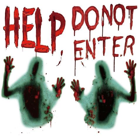 Ventana grande de Halloween puerta de la cubierta 45 * 60cm no introduce Scary Bloody Handprint y sombrio figura de Halloween Props cartel de la bandera por Suministros de la casa encantada de Halloween Decoracion