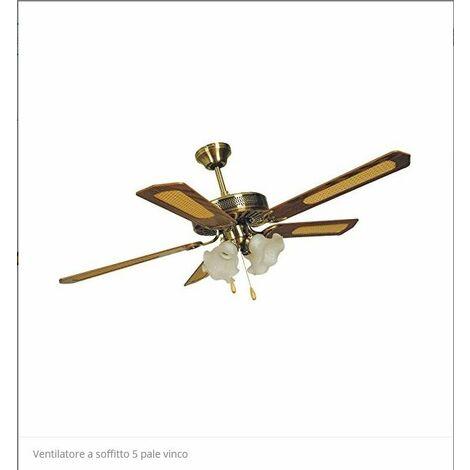 "main image of ""VENTIL.A SOFFITTO 5 PALE LEG. 132 CON LUCI VINCO"""