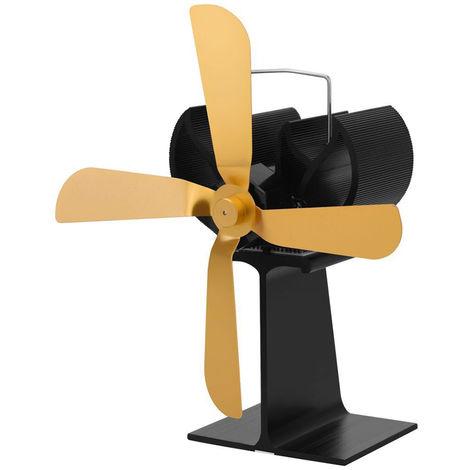 Ventilador de chimenea de 4 palas, ventiladores de distribucion de calor,Dorado