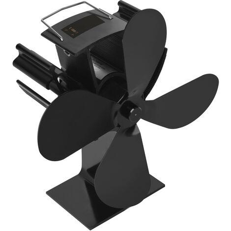 Ventilador de estufa de calor con pantalla digital de temperatura de 4 cuchillas