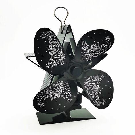 Ventilador de estufa de leña de 4 aspas, quemador de chimenea, ventilador portátil (negro, tipo Navidad)
