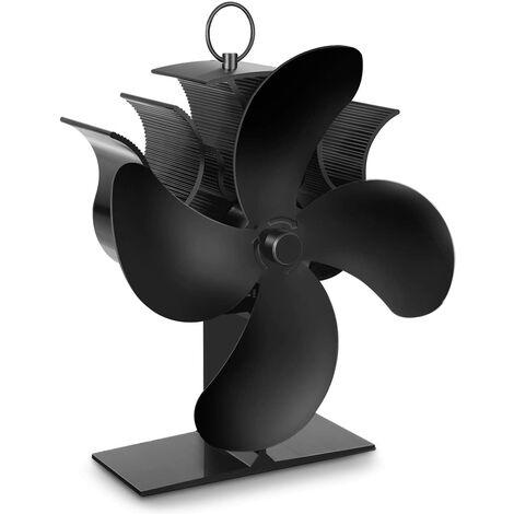 Ventilador de estufa de leña LangRay, ventilador de calor de 4 aspas con termómetro, funcionamiento automático y silencioso, adecuado para chimeneas, chimeneas, chimeneas de leña y estufas de leña