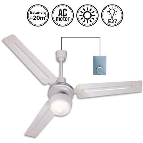 Ventilador de techo Blanco con luz 120d