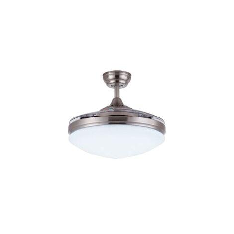 Ventilador de techo con aspas invisibles y luz led IBIZA   Ventilador sin altavoz Bluetooth   Níquel - 0
