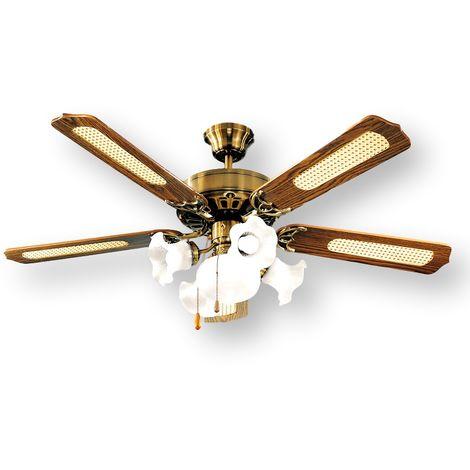 Ventilador de techo con lámpara de latón cm 0 PERENZ 7066 OB