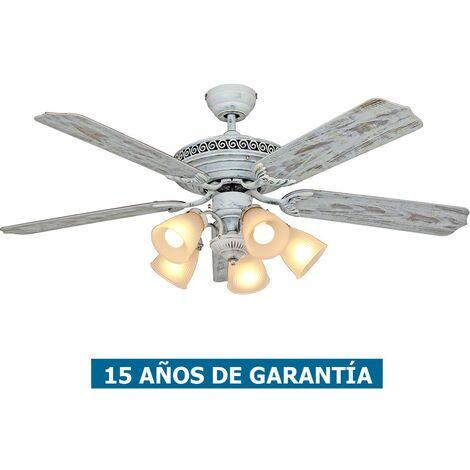 Ventilador de techo con luz CasaFan 513212 CENTURION 132 blanco gastado / blanco gastado