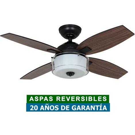 Ventilador de techo con luz Hunter 50618 CENTRAL PARK nogal o nogal oscuro / acero negro