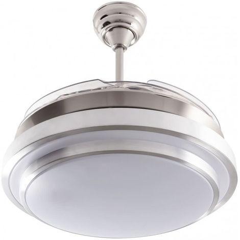 Ventilador de techo con luz serie Selene color níquel