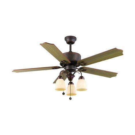 Ventilador de techo Cuero Carina 5 Aspas Madera 3xe27 120d