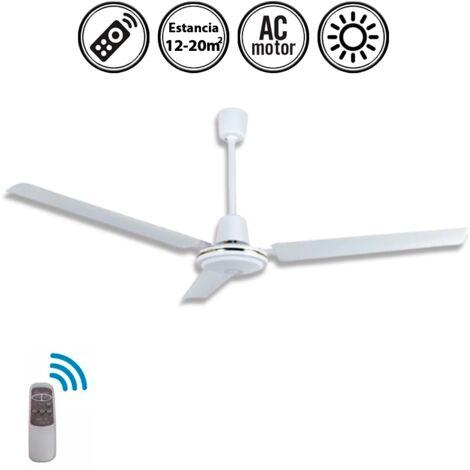 Ventilador de techo industrial blanco con mando 120d