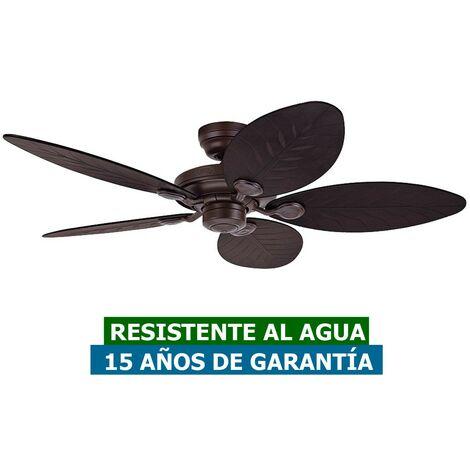 Ventilador de techo para exterior IPX4 Hunter 24323 OUTDOOR ELEMENTS mimbre oscuro natural u hoja de palmera / nuevo bronce